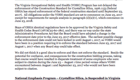 New Construction Standards for Crystalline Silica in Virginia